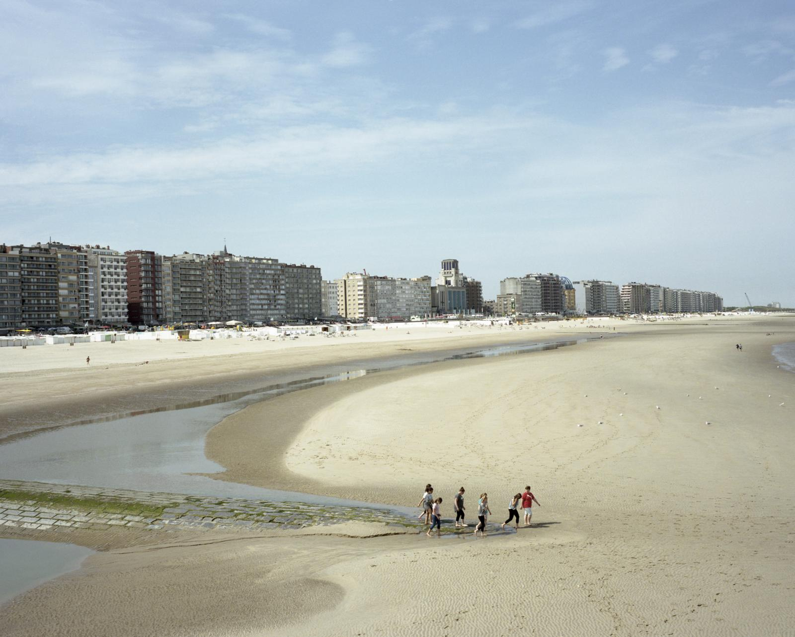 Belgium, Knokke-Heist. A view of the seaside of the small city at the border with Holland. Knokke-Heist is Belgium's best-known and most affluent seaside resort, the territory witnessed an overbuilding, today the city has also a Casino among others tourist facilities.