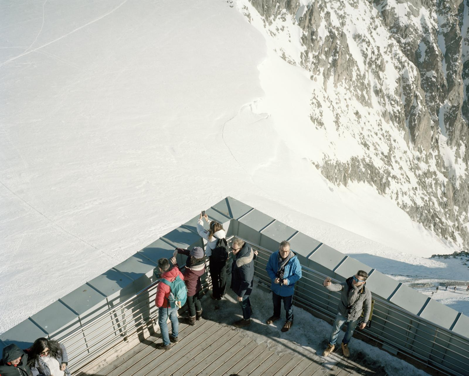 Italy, Courmayeur. A view of the last stop of the Monte Bianco's cableway, the highest of Europe. In the last years, the border between France and Italy moved due to glaciers melting and in 2019 Summer, for the first time, on the Torino Hut, at 3,329 m on the Mont Blanc, the temperature was around 10oC.