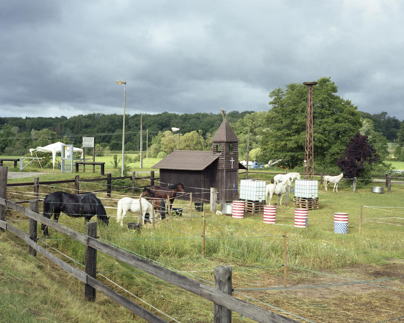 France, Kaffenach. A view of itinerant Rodeo Park inspired to the American Old Wild West.