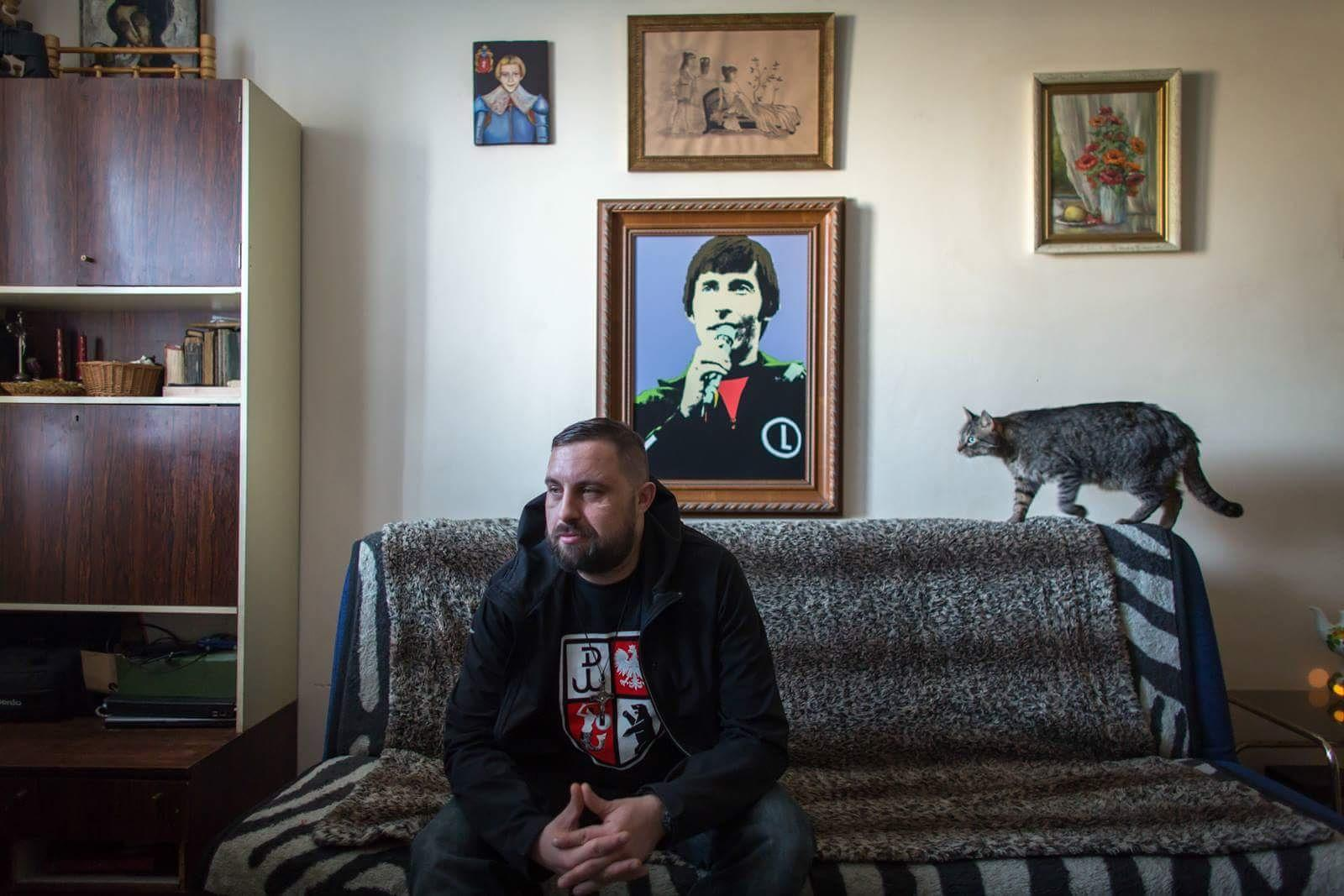Patriotic rapper Sobiepan Ursynowski in his apartment /  on assignment for BuzzFeed News