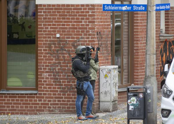 Special Armed Police on the Streets of Halle near the Synagogue on Humbold Strasse in Halle (Saale), Saxony-Anhalt, Germany.