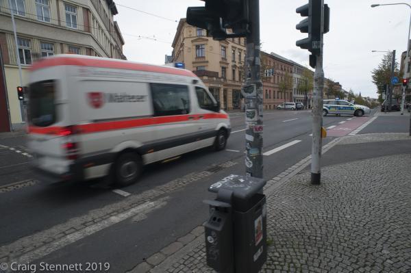 Ambulance arriving at Ludwig Wucherer Strasse, Halle, Saxony-Anhalt, Germany.