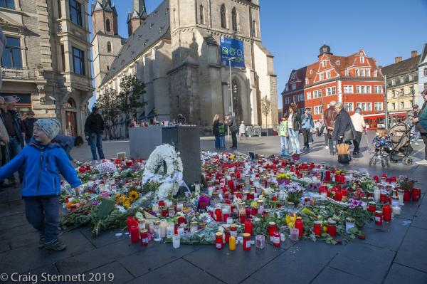 Floral tributes and messages in the centre of Halle (Saale). Pay tribute and memory to those killed by a lone far right Gunman who attacked a Turkish restaurant and Synagogue with in the City. Killing 2 people.