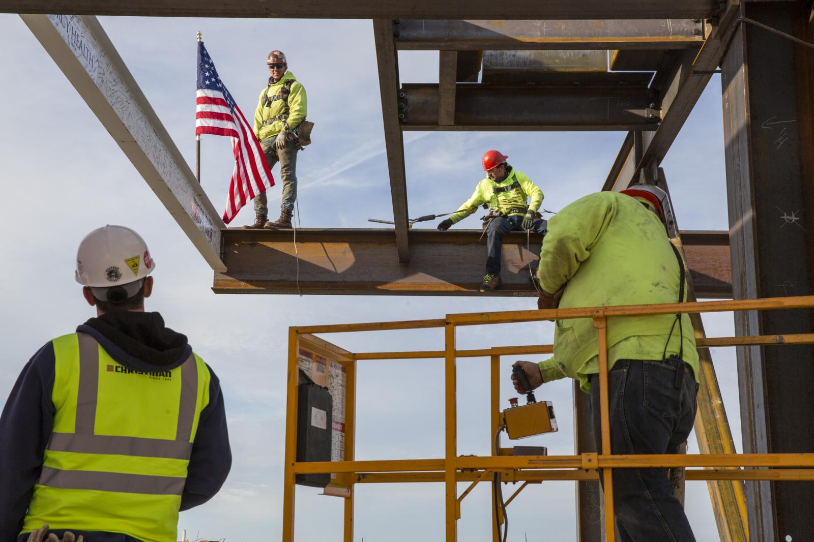 Crews put the last structural beam into place at the construction site at the 10-story Mercy Health medical center in Muskegon, Mich. on Oct. 26, 2017. The $271 million dollar project is expected to be completed in the summer of 2019. The center will have an estimated 267 beds.