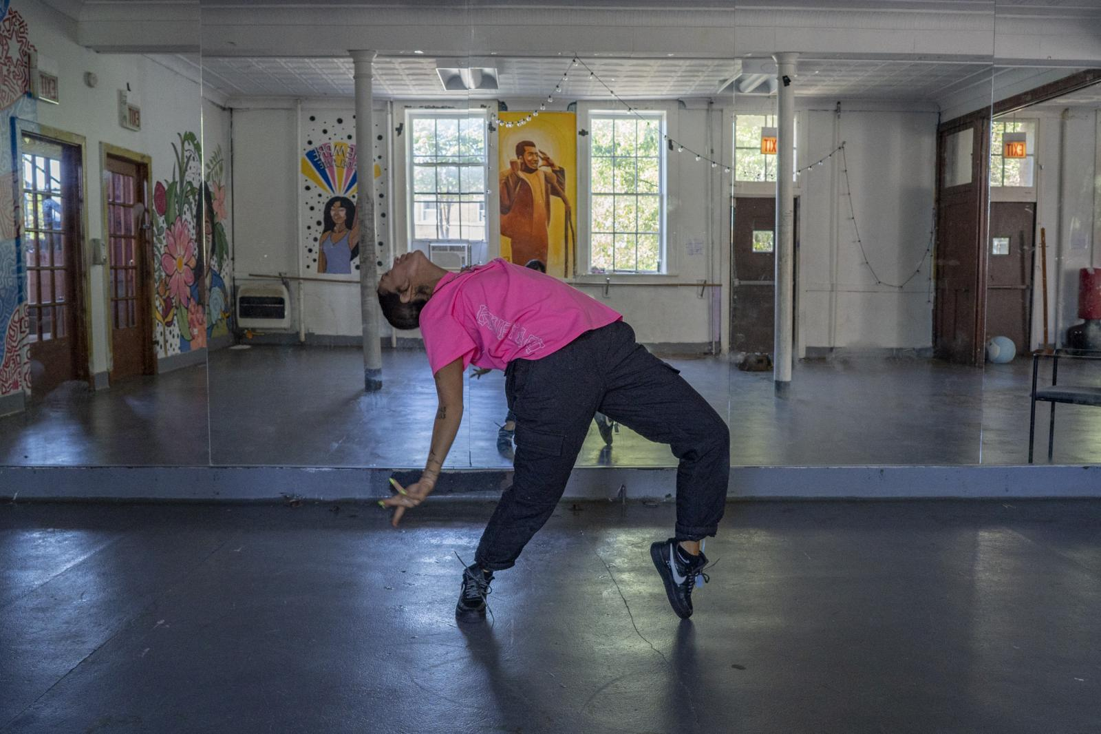 Tanya Lozano showcases her choreography at the Healthy Hood fitness studio in Chicago on August 9, 2019. Lozano and her niece Daysha Del Valle work together to run the studio out of her mother, activist Emma Lozano's church.