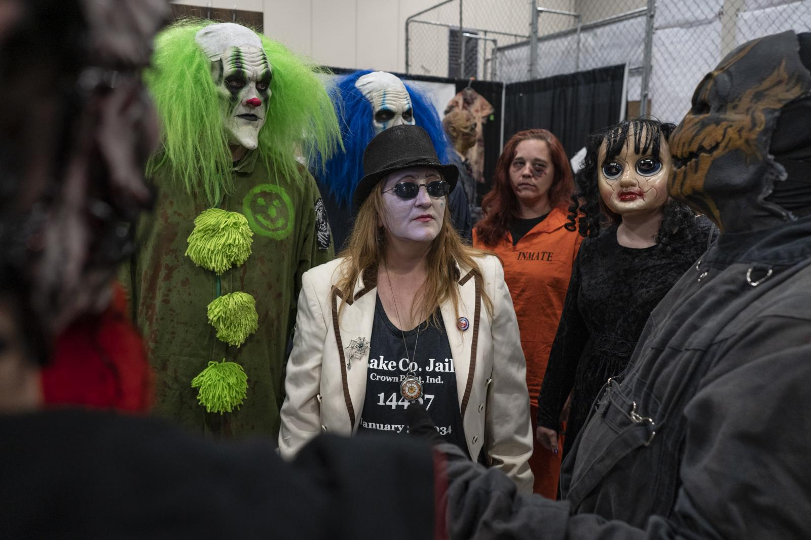 Sandy Boyd, center, shares ideas with other haunted business owners about creating a support network to help promote their businesses during the Midwest Haunters Convention at Renaissance Schaumburg Convention Center Hotel in Schaumburg, Ill. Sunday June 9, 2019. The country's second-largest haunted house trade show drew a crowd of 6,000 people.
