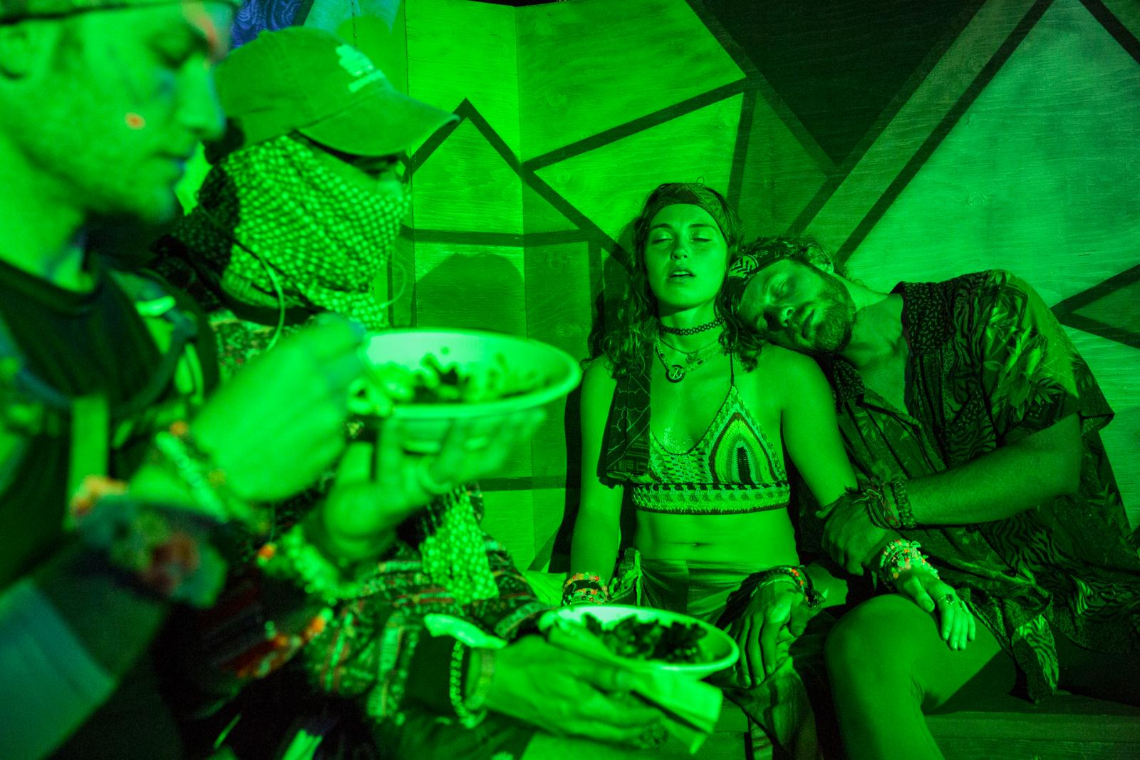Festival-goers rest inside the Sherwood Forest during the second day of Electric Forest on June 23, 2017 in Rothbury, Mich. The four-day and two weekend-long music festival drew an estimated 40,000 attendance for the first weekend.