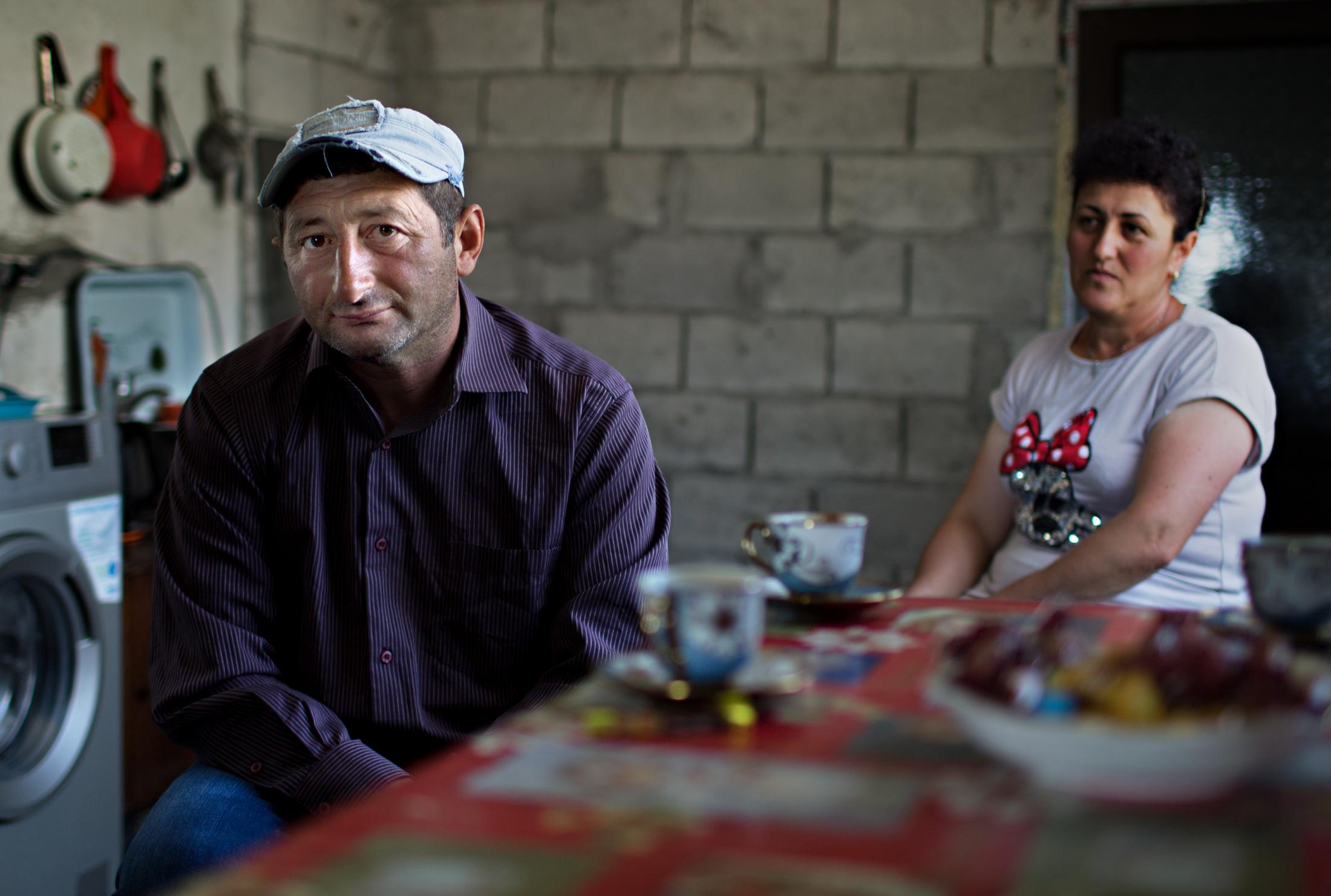 An Armenian husband and wife take a coffee break.
