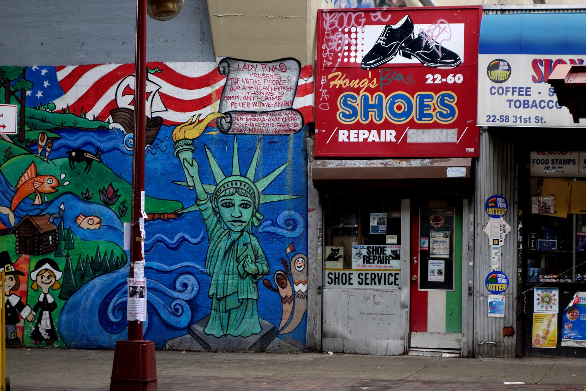 Statue of Liberty wall at a neighborhood in Queens on March 17, 2015