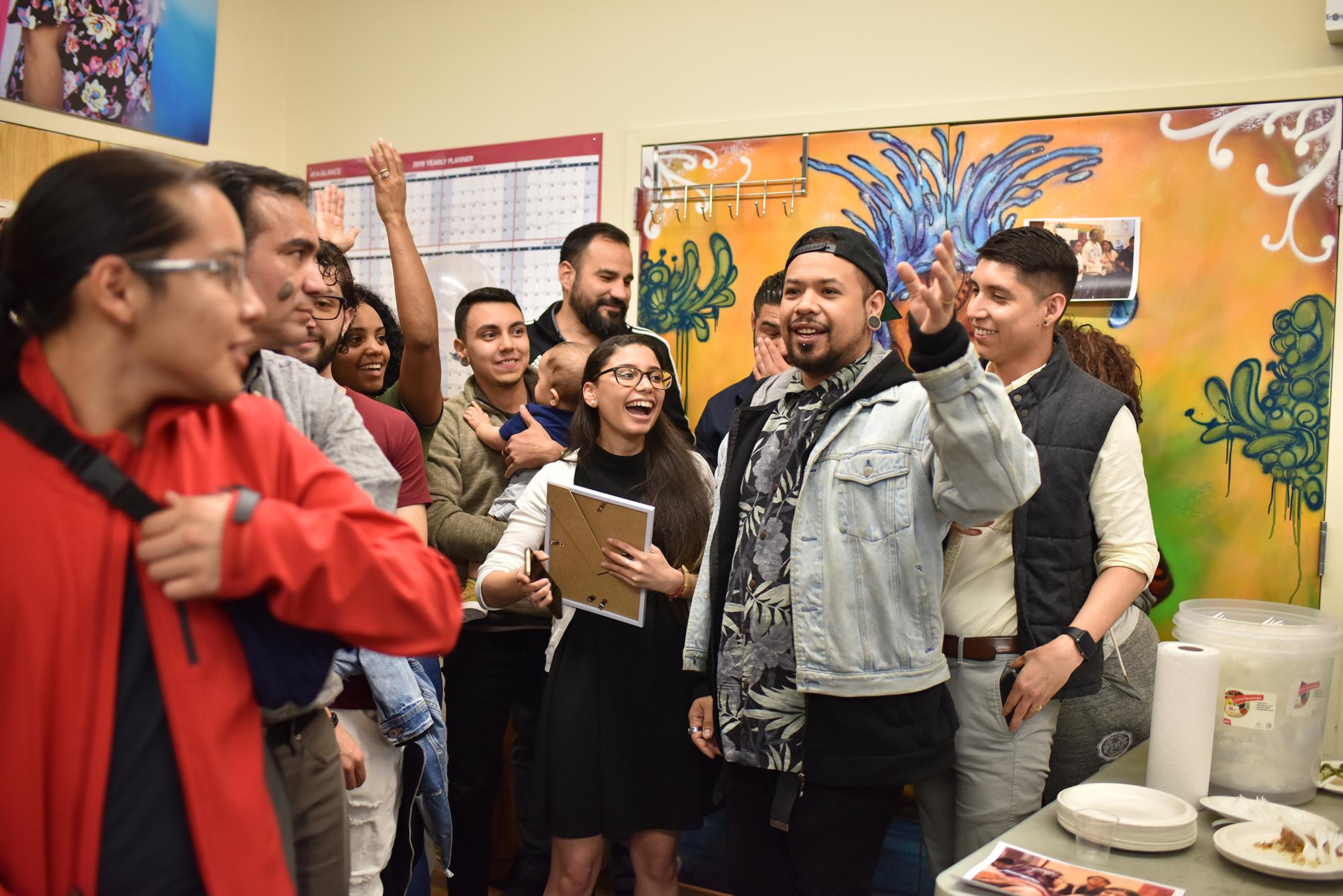 Oscar Chico and other Daca activists are celebrating the New York DREAM found Commission senate bill #1250 created in April 12/2019 to give financial opportunity programs for Daca students and graduates in New York State on April 24, 2019, Jackson Heights, Queens.