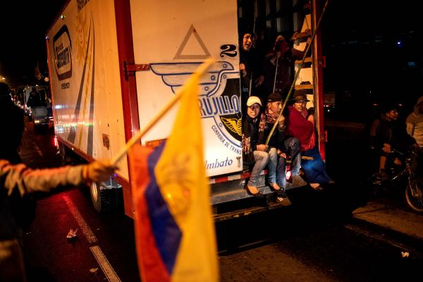 Indigenous arrived to Quito during a protest  Ecuador, on Monday Oct. 7, 2019. Key highways are paralyzed across Ecuador after a night of clashes triggered by fuel price hikes, as a state of emergency enters its second day. Photographer: Johis Alarcon/Bloomberg