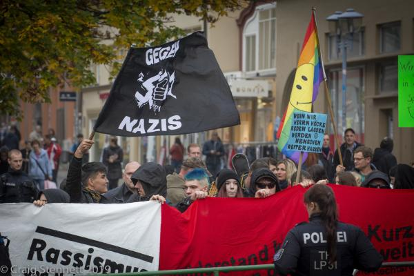 Protesters to the AfD 'Family Festival' political rally in Gotha, Thuringia, Germany.