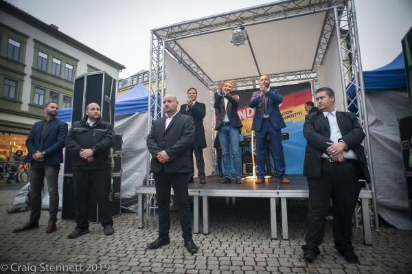Björn Höcke of the AfD on the stage with other AfD Electoral Candidates. While flanked by his security at the 'Family Festival' at Gotha in Thuringia, Germany.