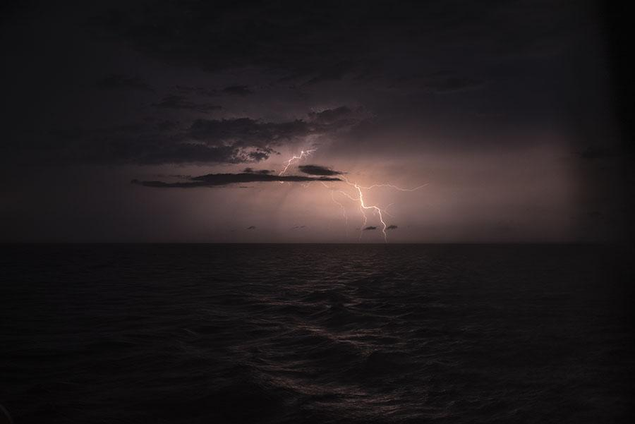 Thunder storm while sailing Rio de la Plata from Montevideo, Uruguay to Buenos Aires, Argentina