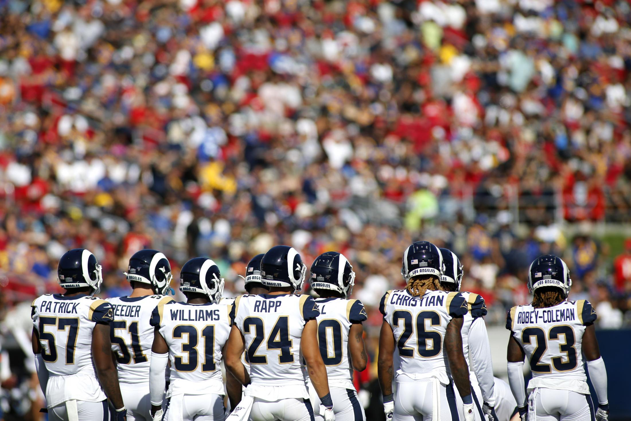 LOS ANGELES, CALIFORNIA - SEPTEMBER 29: The Los Angeles Rams standby during the fourth quarter against the Tampa Bay Buccaneers at Los Angeles Memorial Coliseum on September 29, 2019 in Los Angeles, California. (Photo by Katharine Lotze/Getty Images)