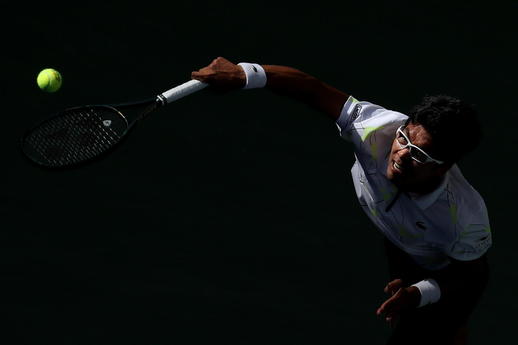 NEW YORK, NEW YORK - AUGUST 31: Hyeon Chung of South Korea serves the ball during his Men's Singles third round match against Rafael Nadal of Spain on day six of the 2019 US Open at the USTA Billie Jean King National Tennis Center on August 31, 2019 in Queens borough of New York City. (Photo by Katharine Lotze/Getty Images)