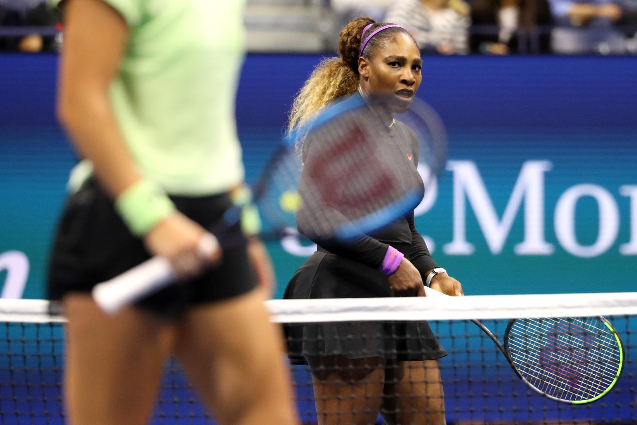 NEW YORK, NEW YORK - AUGUST 28: Serena Williams of the United States looks on during her Women's Singles second round match against Catherine McNally of the United States on day three of the 2019 US Open at the USTA Billie Jean King National Tennis Center on August 28, 2019 in the Flushing neighborhood of the Queens borough of New York City. (Photo by Katharine Lotze/Getty Images)