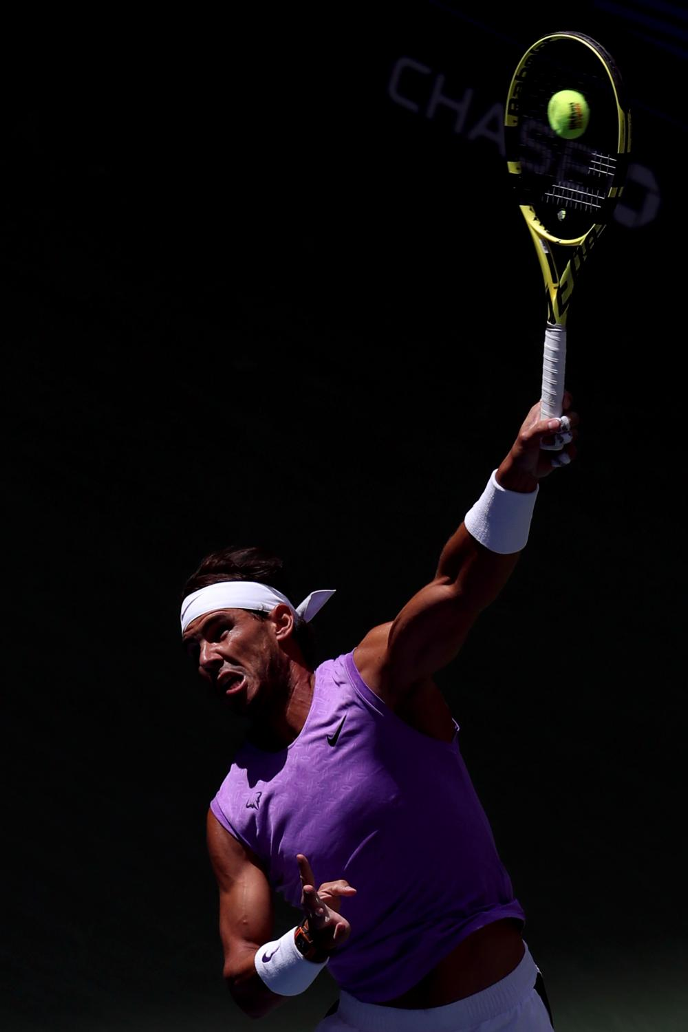 NEW YORK, NEW YORK - AUGUST 31: Rafael Nadal of Spain serves during his Men's Singles third round match against Hyeon Chung of South Korea on day six of the 2019 US Open at the USTA Billie Jean King National Tennis Center on August 31, 2019 in Queens borough of New York City. (Photo by Katharine Lotze/Getty Images)