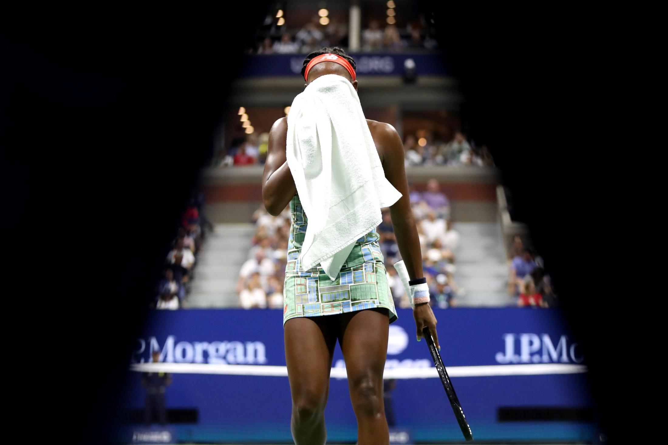 NEW YORK, NEW YORK - AUGUST 31: Cori Gauff of the United States reacts during her Women's Singles third round match against Naomi Osaka of Japan on day six of the 2019 US Open at the USTA Billie Jean King National Tennis Center on August 31, 2019 in Queens borough of New York City. (Photo by Katharine Lotze/Getty Images)