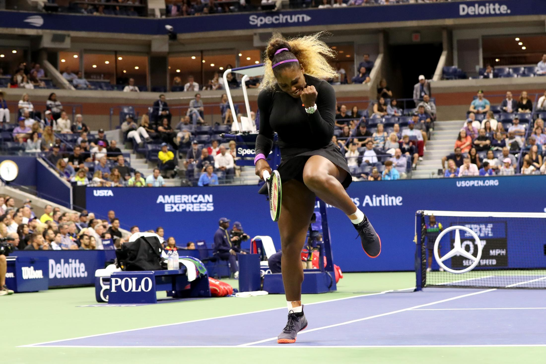 NEW YORK, NEW YORK - AUGUST 28: Serena Williams of the United States reacts during her Women's Singles second round match against Catherine McNally of the United States on day three of the 2019 US Open at the USTA Billie Jean King National Tennis Center on August 28, 2019 in the Flushing neighborhood of the Queens borough of New York City. (Photo by Katharine Lotze/Getty Images)