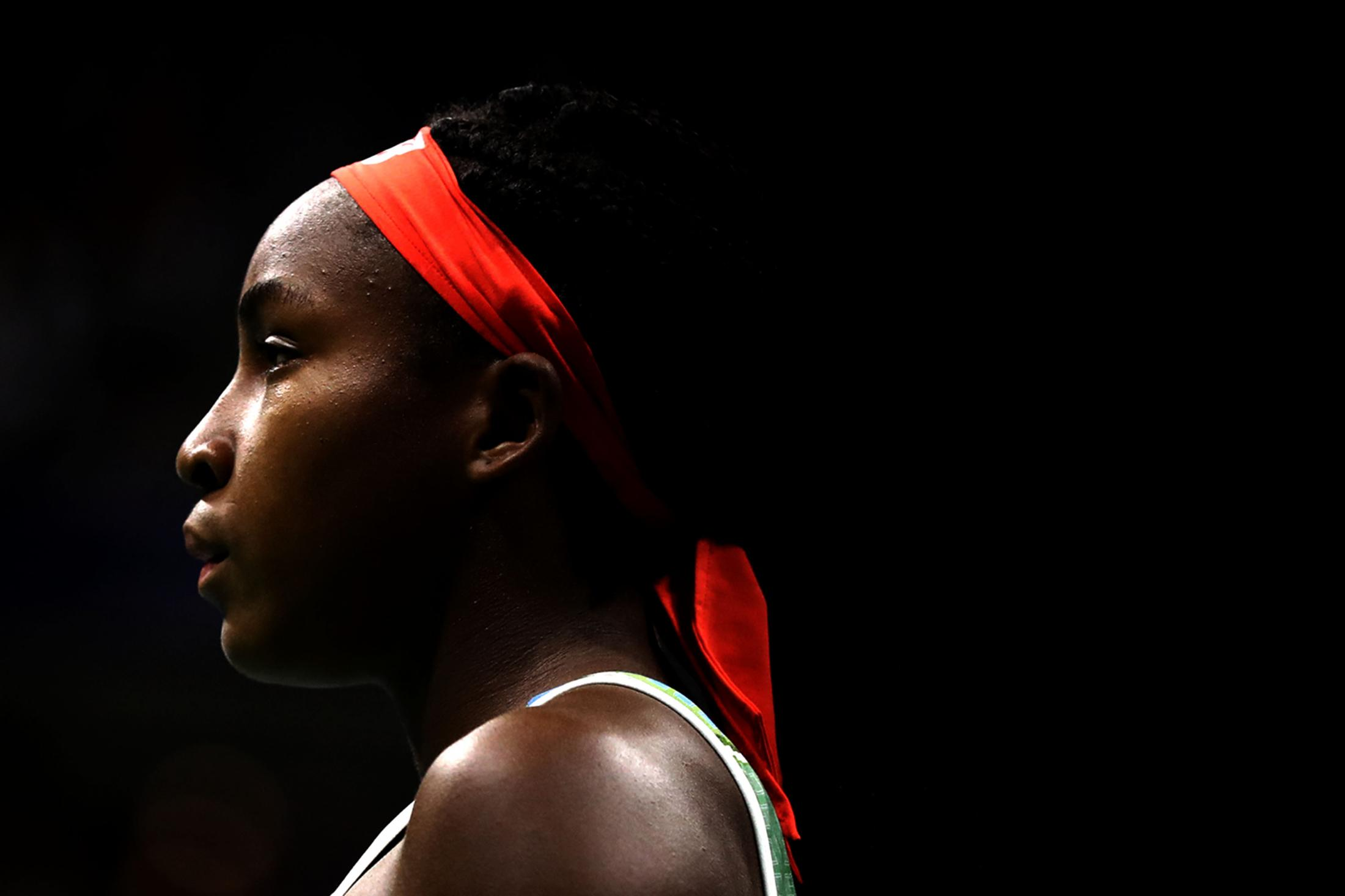 NEW YORK, NEW YORK - AUGUST 31: Cori Gauff of the United States looks on during her Women's Singles third round match against Naomi Osaka of Japan on day six of the 2019 US Open at the USTA Billie Jean King National Tennis Center on August 31, 2019 in Queens borough of New York City. (Photo by Katharine Lotze/Getty Images)