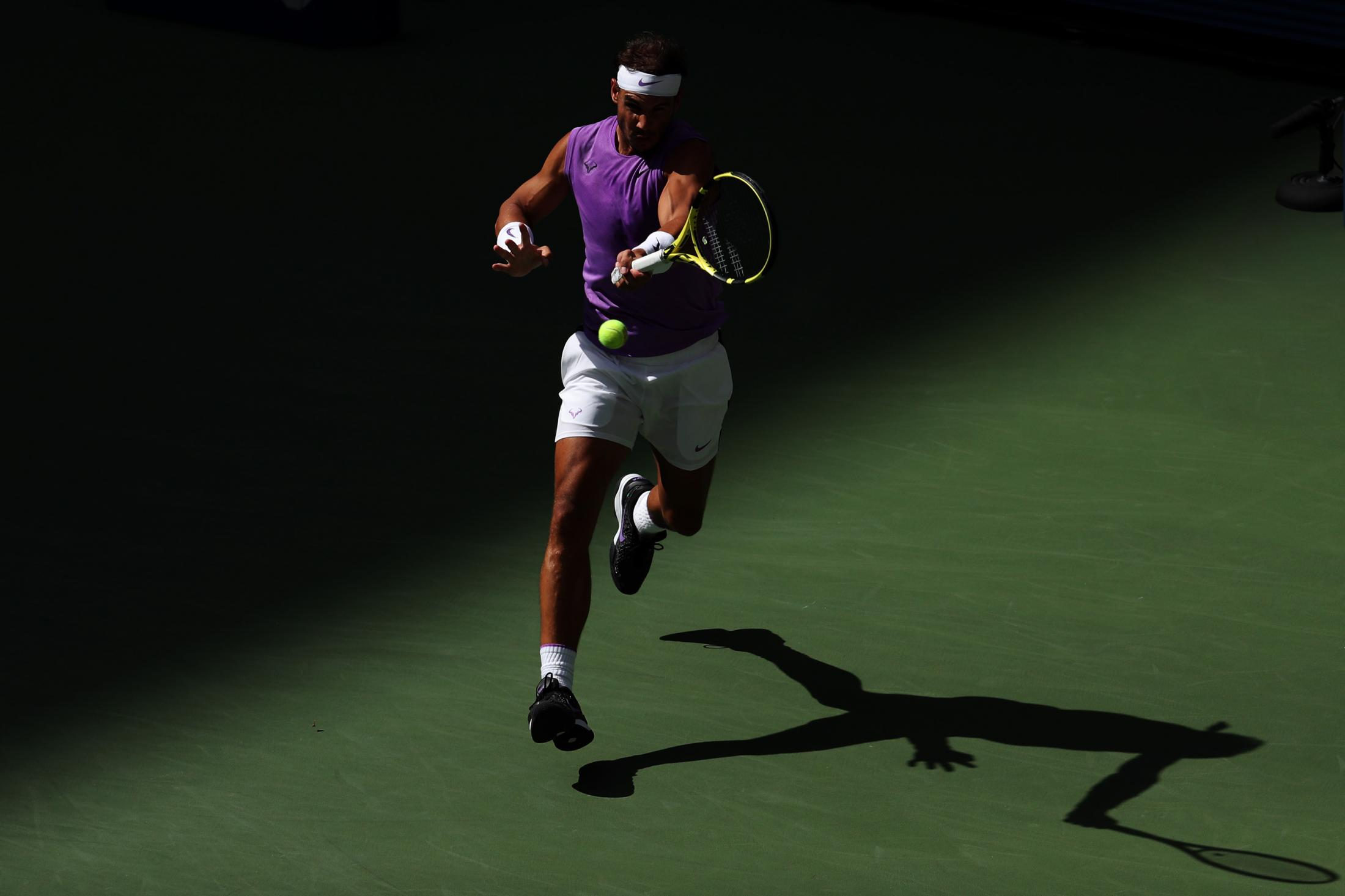 NEW YORK, NEW YORK - AUGUST 31: Rafael Nadal of Spain returns a shot during his Men's Singles third round match against Hyeon Chung of South Korea on day six of the 2019 US Open at the USTA Billie Jean King National Tennis Center on August 31, 2019 in Queens borough of New York City. (Photo by Katharine Lotze/Getty Images)
