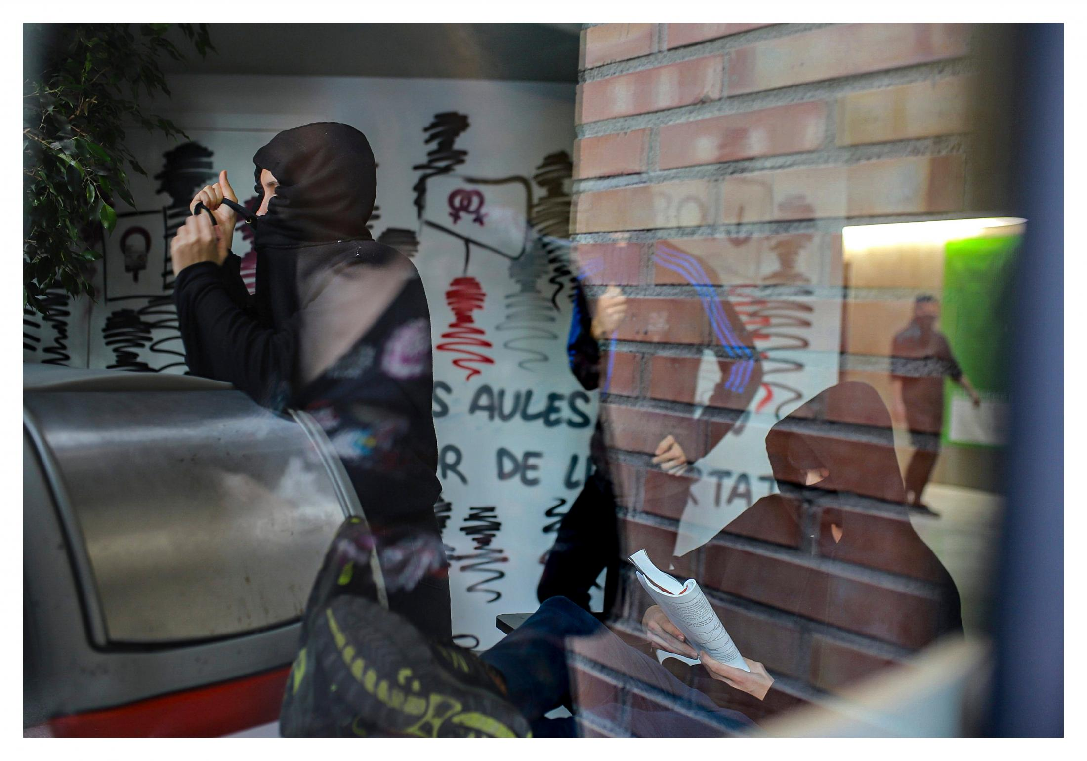 Students at the Pompeu Fabra University in Barcelona have occupied their university as part of the campaign to free the political prisoners in Catalonia, including those who have been jailed during the protests. Many of the prisoners are students themselves. October 2019, Barcelona, Spain.