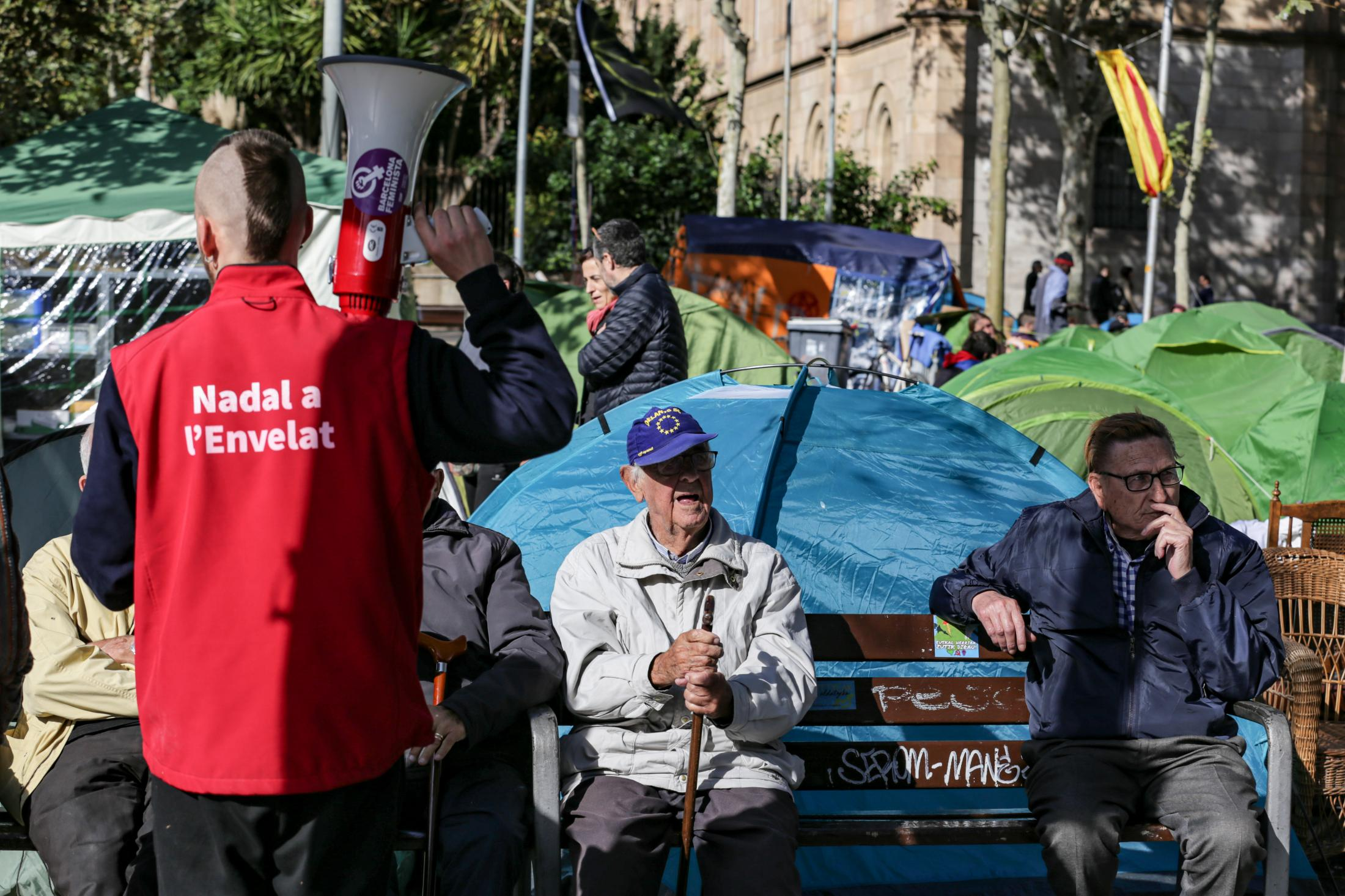The youth after achieved historic victories in many centers (no assessment and suspension of classes, unique evaluation, public positioning) move together to occupy plaza Universidad with camping tents. November 2019, Barcelona, Spain.