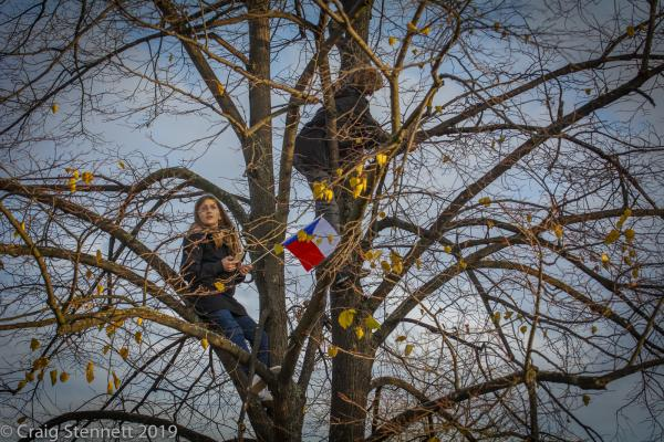 Children climb a Tree at Letná  Park to get a better view of the Million Moments demonstration against Andrej Babiš the Prime Minister of the Czech Republic.  Babiš has been accused of multiple cases of corruption. The demonstration at Letna Park attracted over 250,000 demonstrators and was held on the eve of the 30th anniversary of the Velvet Revolution of 1989 which over threw the Communist regime.