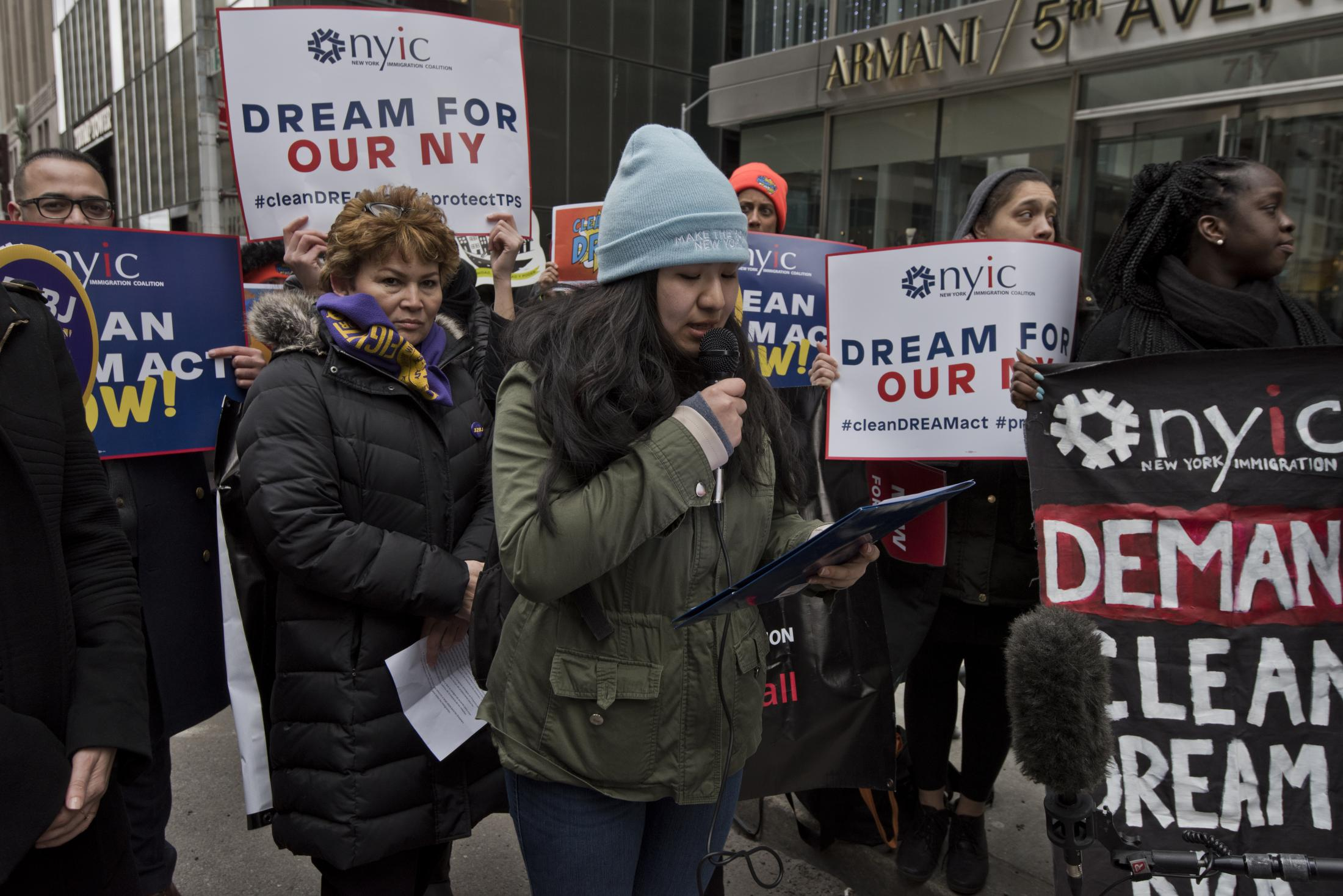Lizbeth in a rally that supports Dreamers in front of Trump tower in 5 ave in Manhattan on March 3, 2018