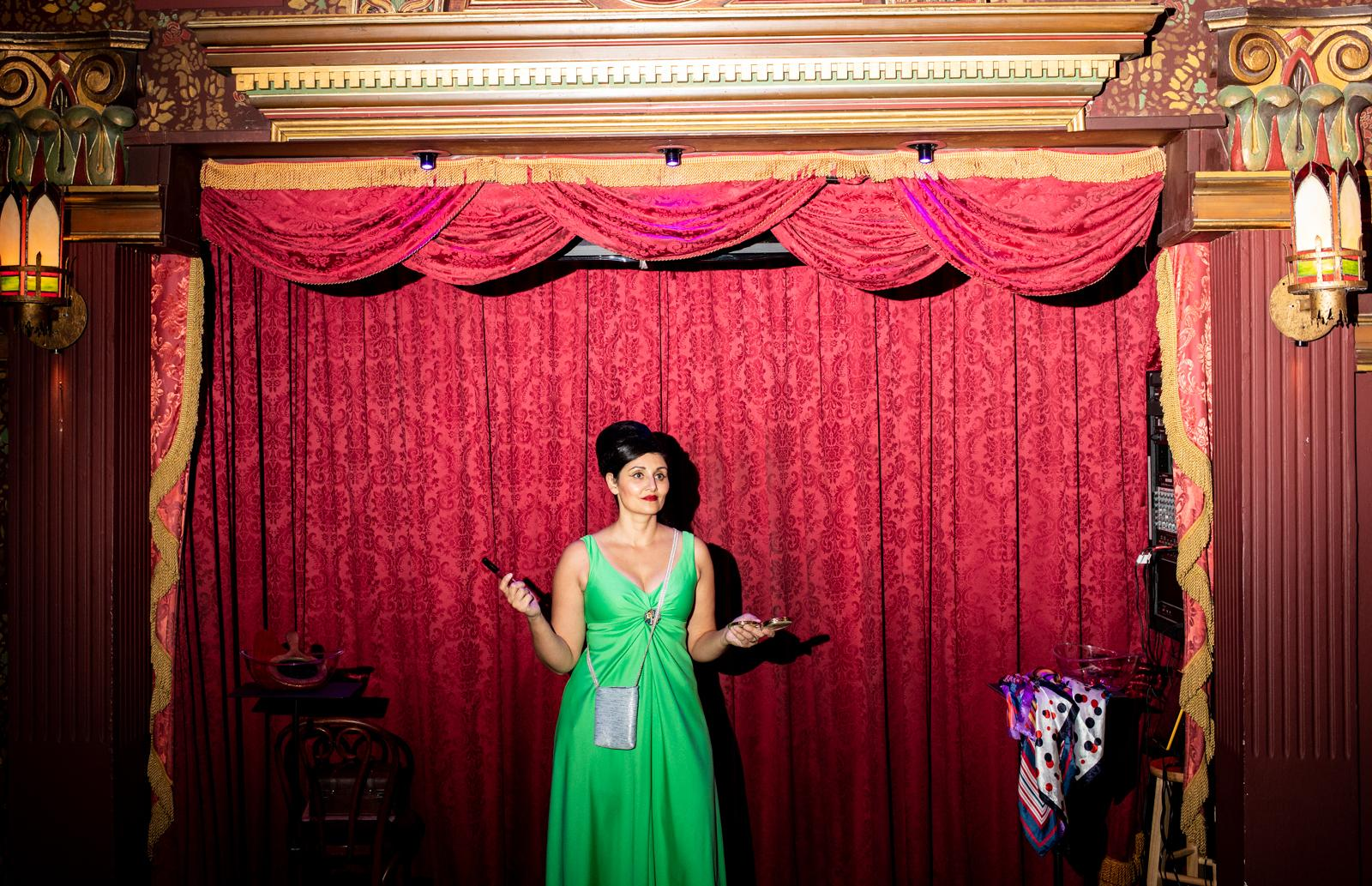 Simone Turkington, 42, rehearses before her show at the Magic Castle in Hollywood.