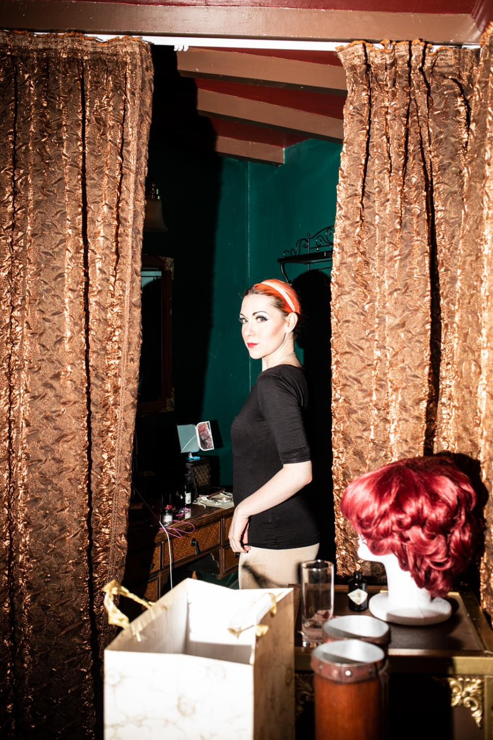 Carisa Hendrix, 32, gets ready to perform at the Magic Castle Cabaret in Santa Barbara. Carisa often performs as her character Lucy Darling.