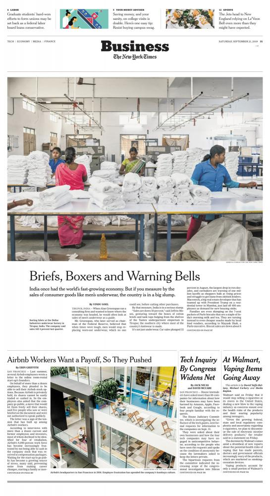 The New York Times From Underwear to Cars, India's Economy is Fraying