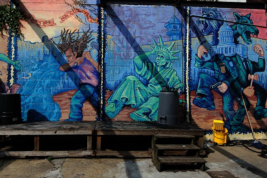 Statue of Liberty wall paint in headquarters of Make the Road New York in Bushwick Brooklyn.