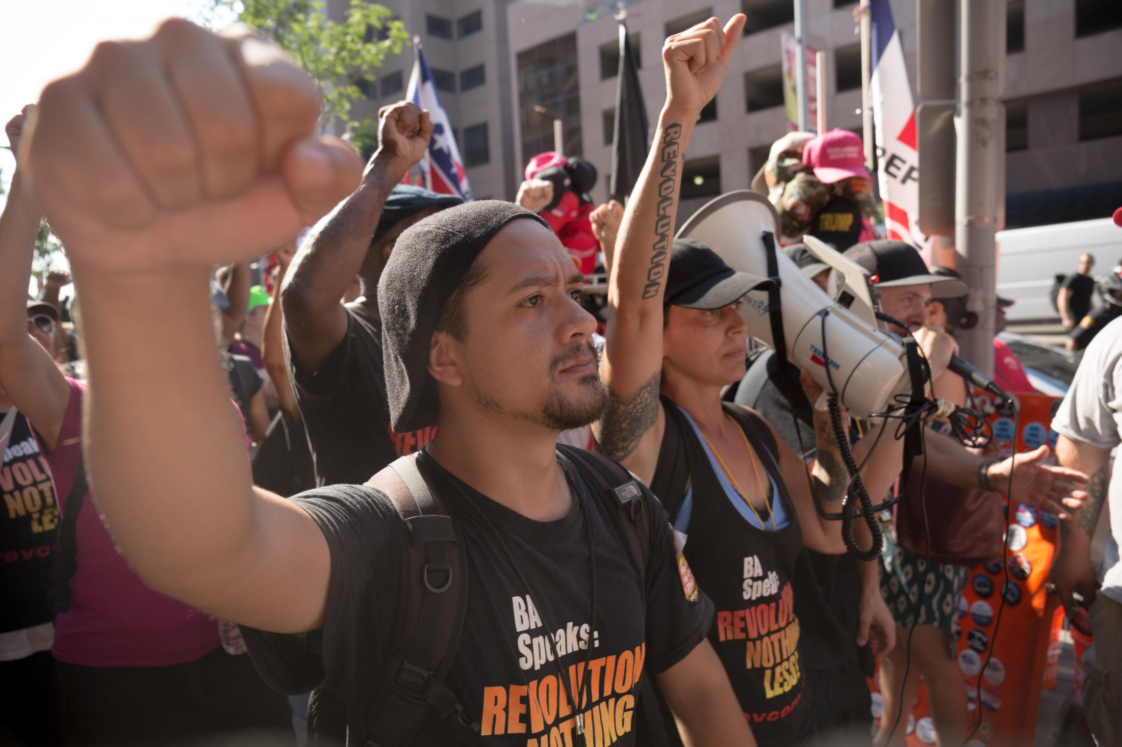 Members of the Revolutionary Communists lead a march against the Republican Party in Cleveland, Ohio during the Republican National Convention on July 19, 2016.