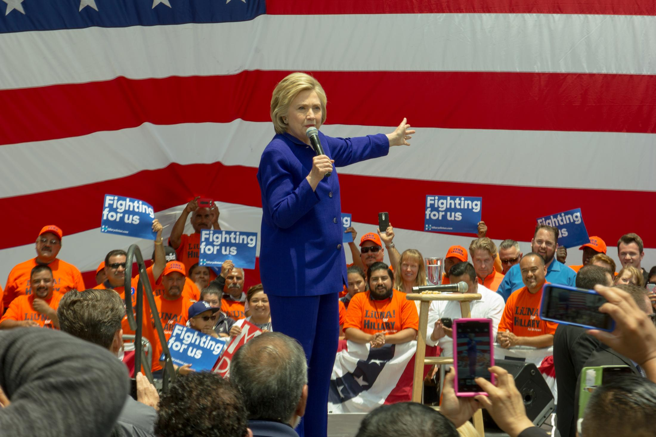 Hillary Clinton speaks to a crowd of supporters at her get out the vote rally in Lynwood, CA at Plaza Mexico on June 6, 2016.