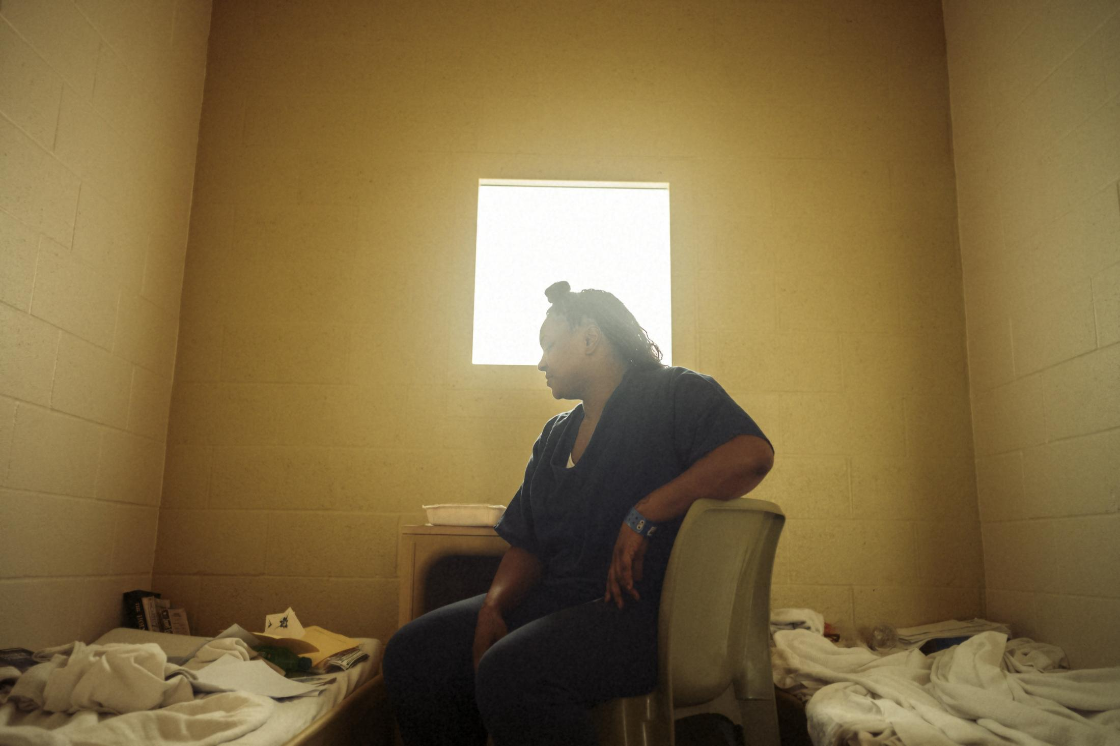 """Sherita Alexander in her cell in a high-level block of Las Colinas correctional facility for women in San Diego. Mrs. Alexander was spending her time incarcerated rather than spend it """"free,"""" but on probation."""