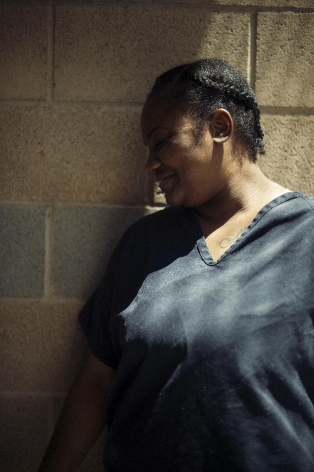 Tanya Aldridge in the workout yard of a high-security cell block at Las Colinas correctional facility in San Diego, CA.