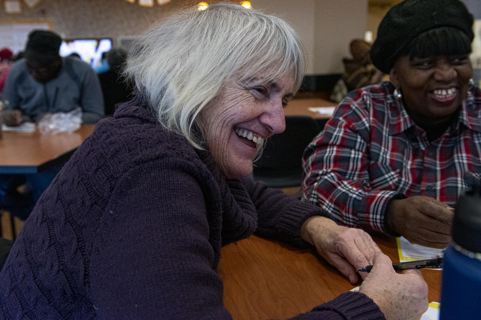 Sharon Browning laughs while sharing stories with other seniors at the 10th anniversary of Best Day of My Life So Far on Friday, Nov. 8, 2019, at Philadelphia Senior Center, in Philadelphia, Pa.