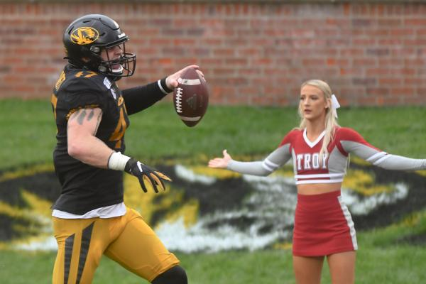 Cale Garret runs an interception in for a touchdown when the University of Missouri took on Troy on Farout Field at Memorial Stadium on Saturday, October 05, 2019.