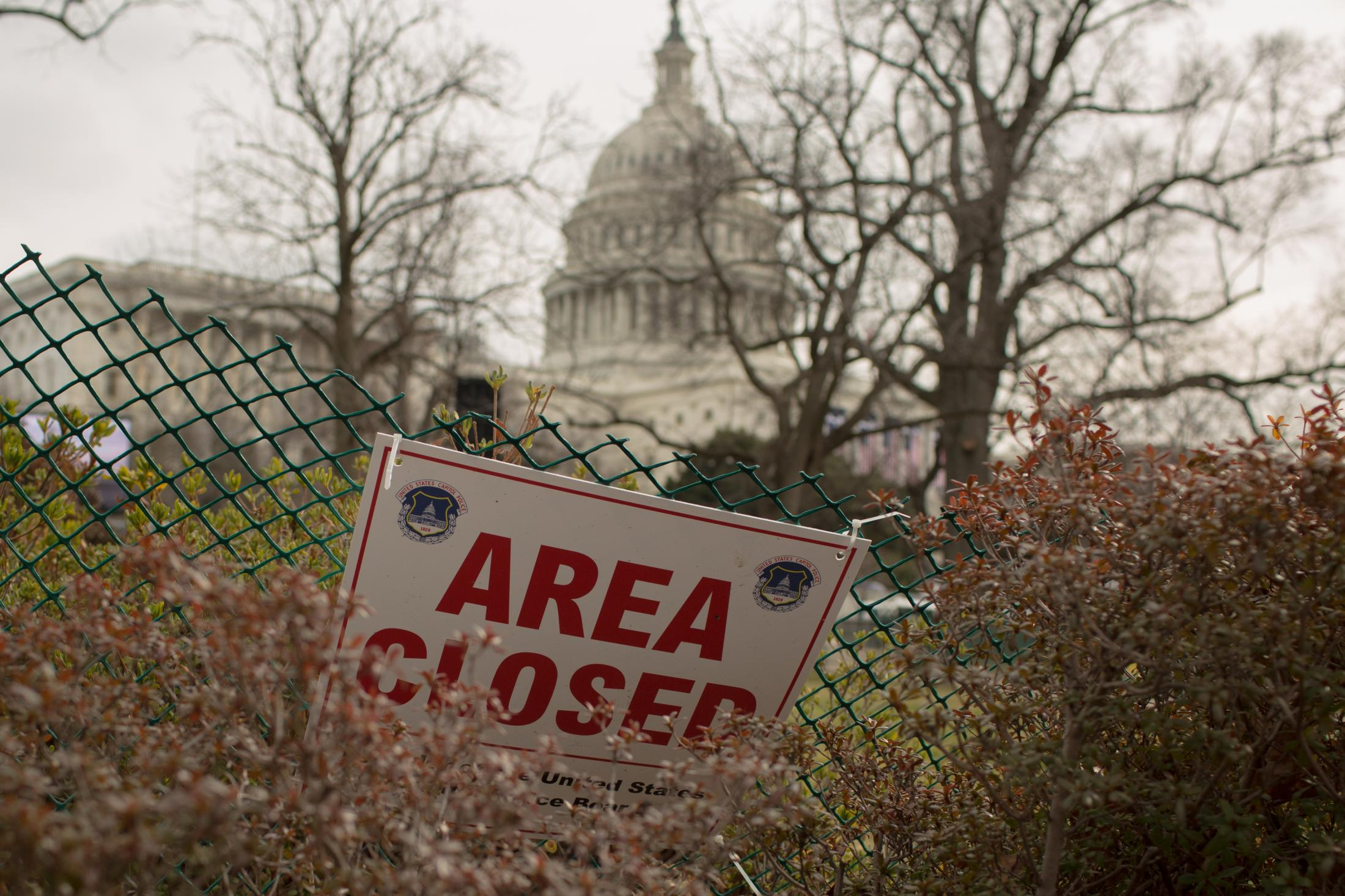 Capitol Hill in Washington, D.C. is surrounded by fencing before Donald Trump's inauguration on January 16, 2017.