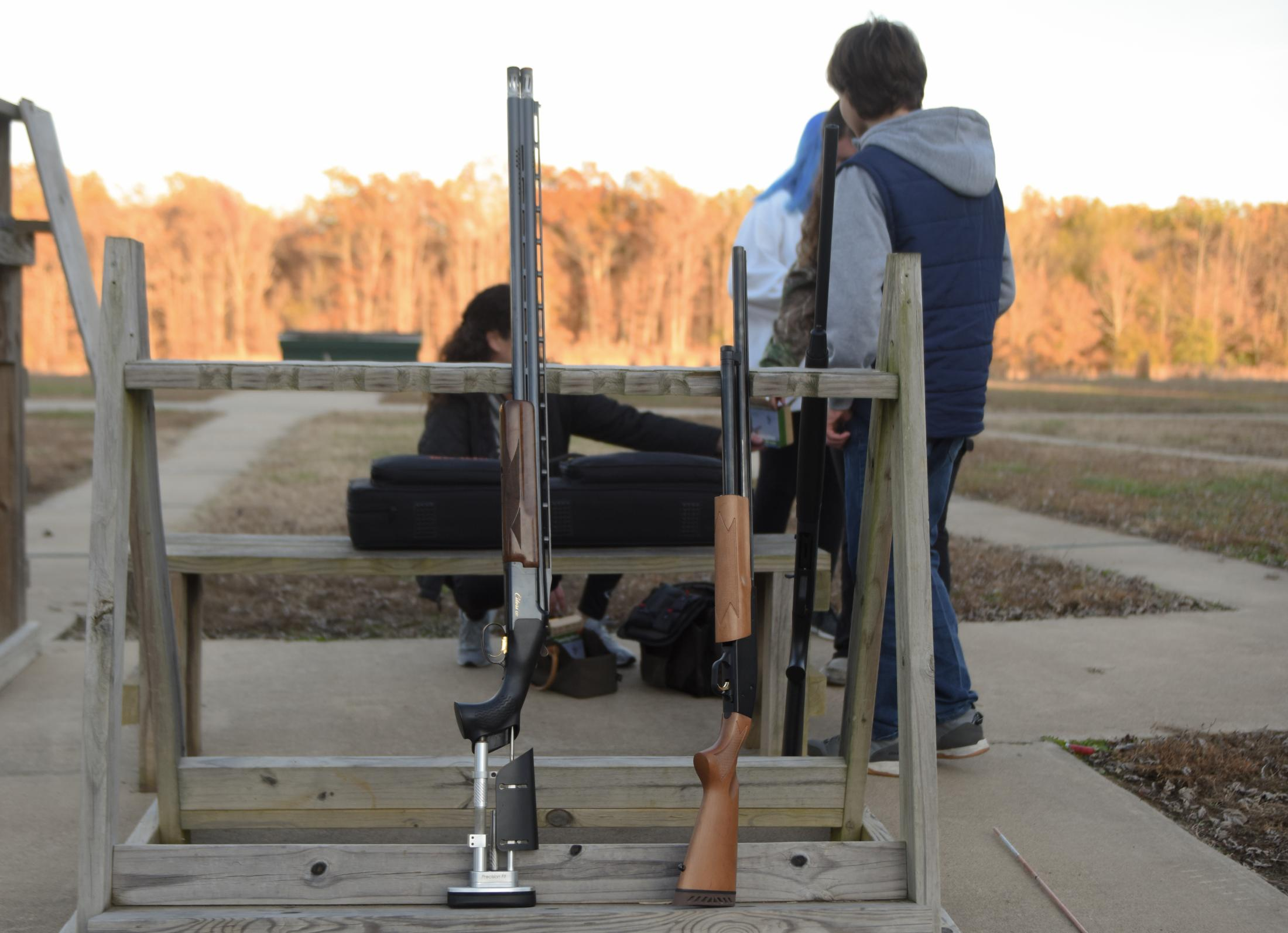 Shotguns sit on a stand at the Poplar Bluff Gun Club in front of the trap shooting range in Poplar Bluff, Missouri on November 9, 2019. Poplar Bluff High School's $42,000 in support from the NRA Foundation came in three grants, issued in 2011, 2014 and 2015.