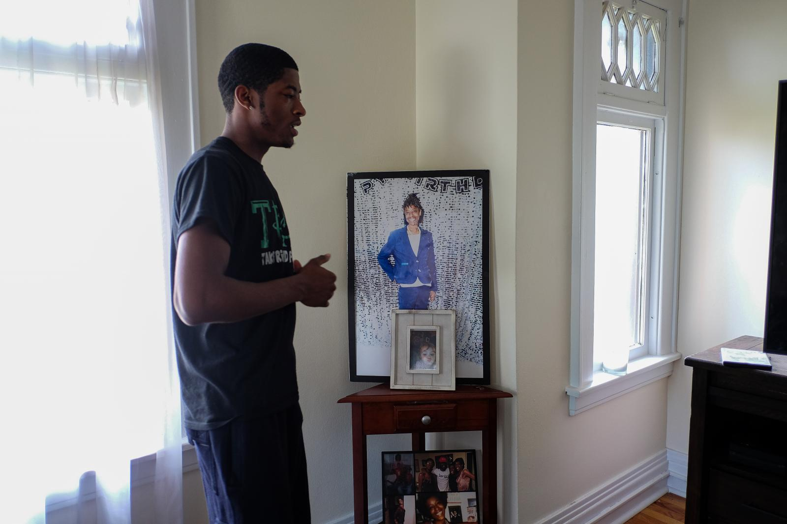 This is a photo of Blair's mother, Yvonne, that is on display in his apartment.