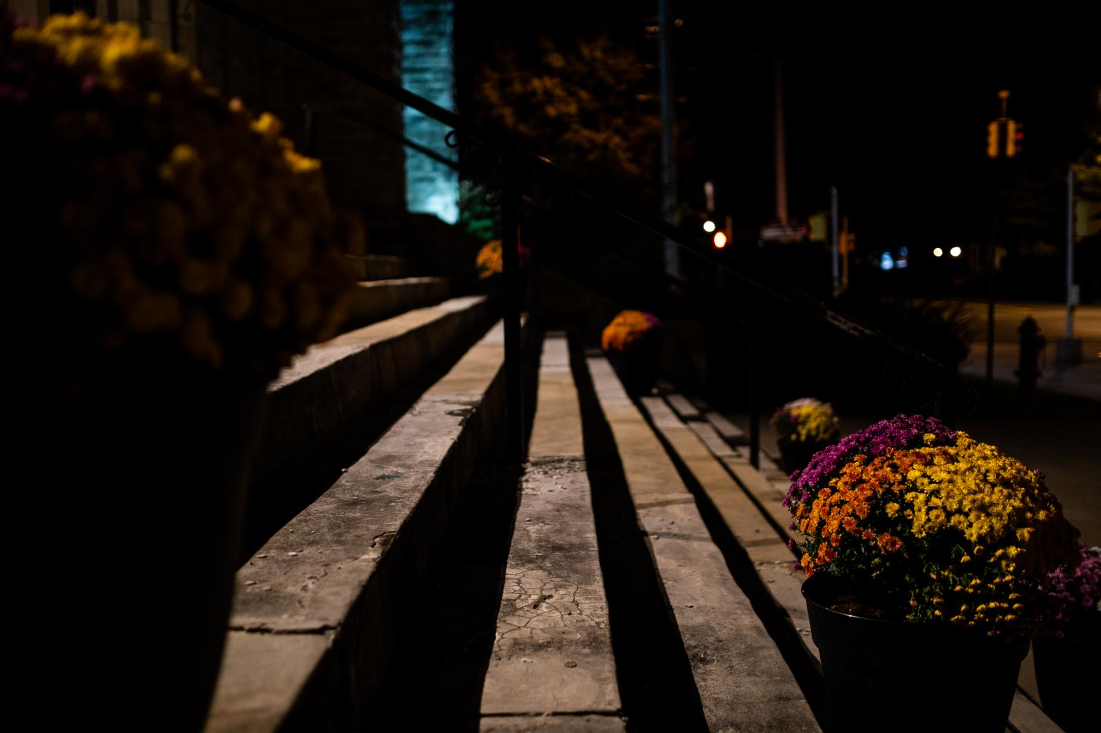 The front steps of the University United Methodist church.