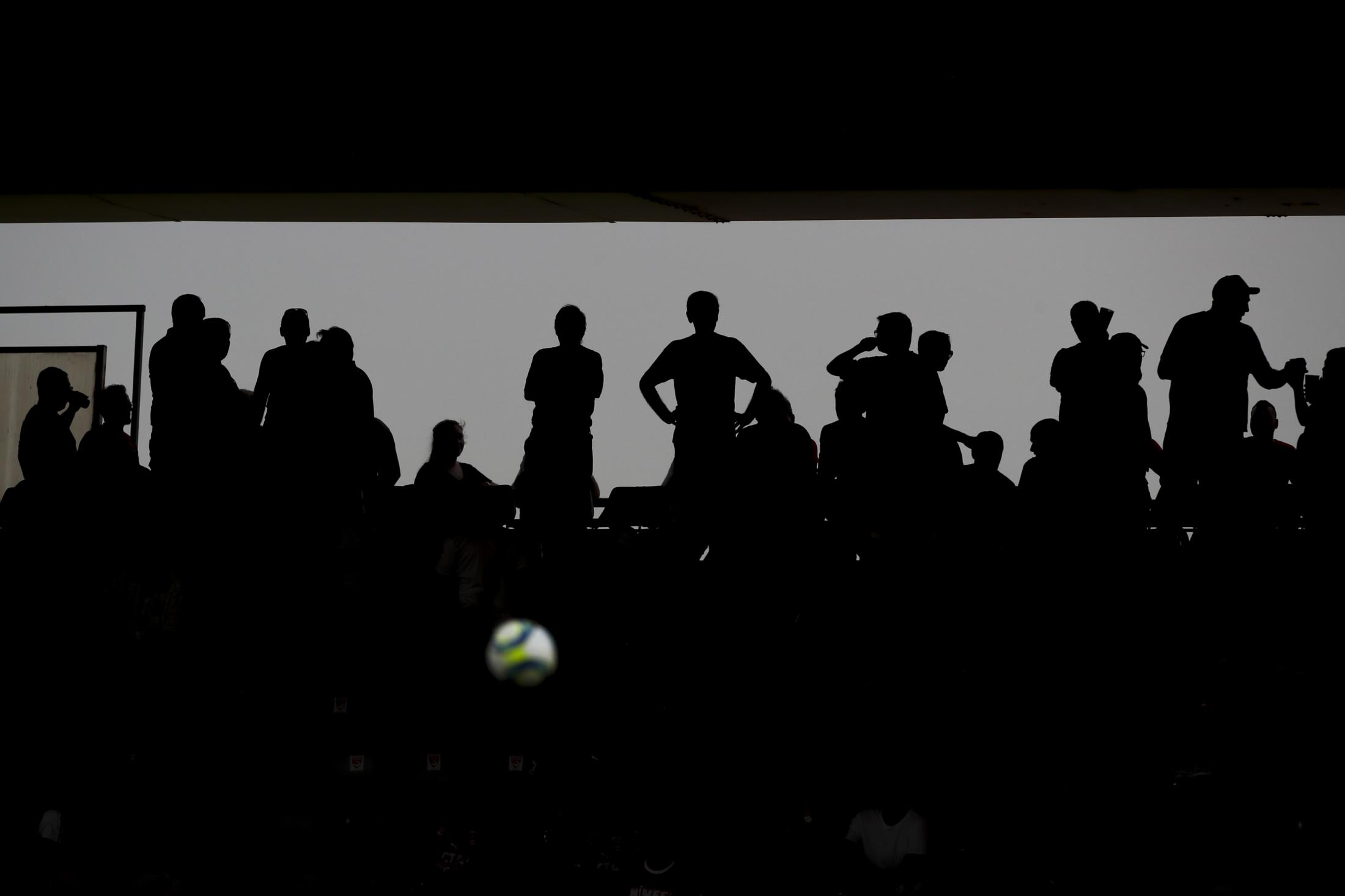 Nimes fans fill the stands before the start of the French League One soccer match between Nimes and Brest at the Stade des Costières in Nimes, southern France, Saturday, Aug. 31, 2019. (AP Photo/Daniel Cole)