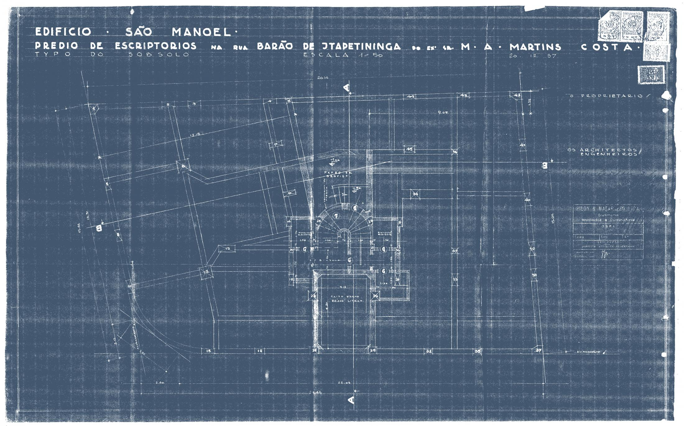 Blueprints from the 'Sao Manoel' building. São Paulo, 1937. Municipal Public Archive from the City of São Paulo.