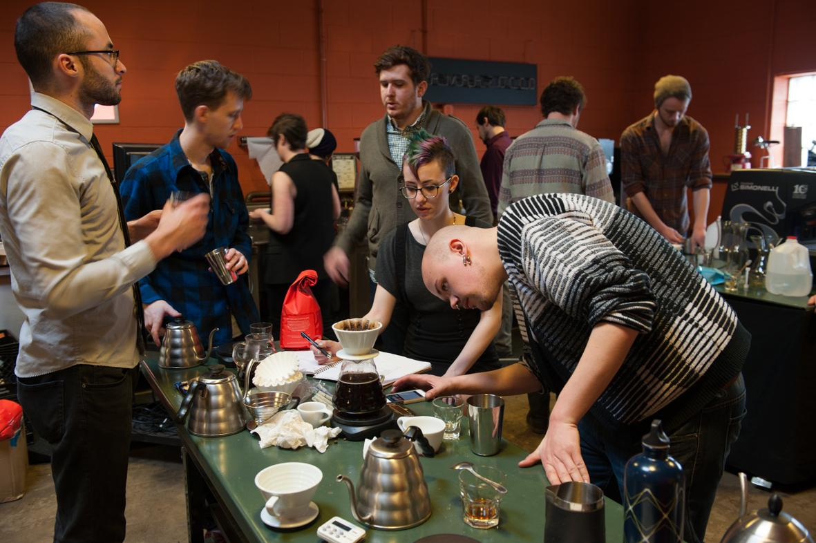 Intelligentsia training lab in Chicago. Baristas undergo a training program about basic theories, cupping, coffee extraction and milk variation. The first American to win the World Barista Championship used to work at Intelligentsia. ©ChiaraCeolin2013