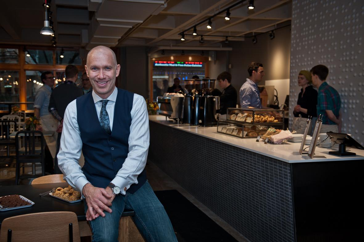 Doug Zell, Intelligentsia founder and Co-Chief Executive Officer at the opening of the new cafe Broadway in Chicago. ©ChiaraCeolin2013