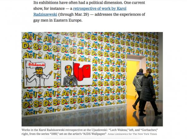 """Works in the Karol Radziszewski retrospective at the Ujazdowski: """"Lech Walesa,"""" left, and """"Gorbachev,"""" right, from the series """"1989,"""" set on the artist's """"AIDS Wallpaper.""""  Anna Liminowicz for The New York Times    NYTimes"""