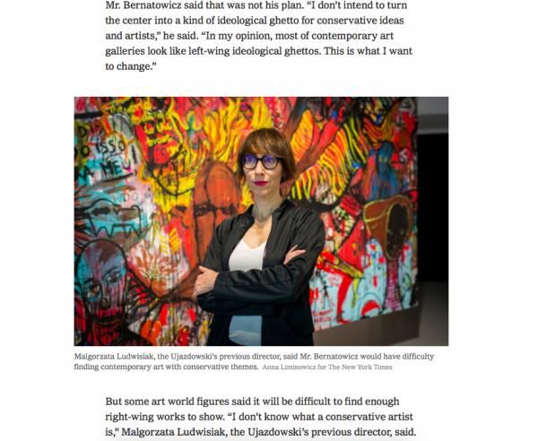 Malgorzata Ludwisiak, the Ujazdowski's previous director.  Anna Liminowicz for The New York Times    NYTimes